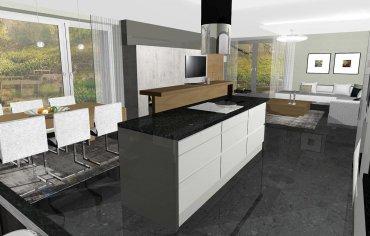 Interiérový dizajn, návrh otvorenej kuchyne s obývačkou