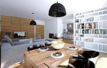 Kuchyňa s ostrovčekom, obývačka s kozubom - realizácia interiéru zo štúdia PRUNUS